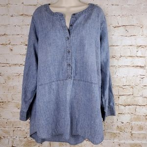 Eileen Fisher Chambray Tunic Sz L Blue Top Blouse